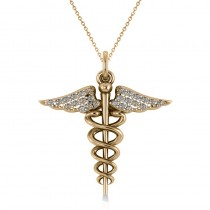 Diamond Caduceus Medical Symbol Pendant 14k Yellow Gold (0.13ct)
