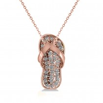 Diamond Summer Flip-Flop Pendant Necklace 14k Rose Gold (0.76ct)