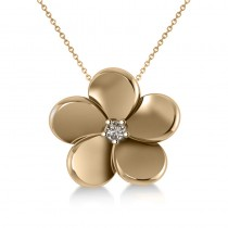 Diamond Flower Charm Pendant Necklace 14k Yellow Gold (0.03ct)