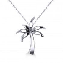 Summer Palm Tree Pendant Necklace in 14k White Gold
