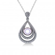 Pearl & Diamond Tear Drop Pendant Necklace 14k White Gold (0.46ct)