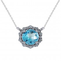 Round Diamond & Blue Topaz Halo Pendant Necklace 14K White Gold (1.50ct)