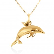 Dolphin Pendant Necklace 14k Yellow Gold