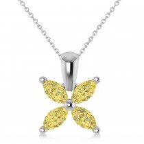 Yellow Diamond Marquise Flower Pendant Necklace 14k White Gold (1.00 ctw)