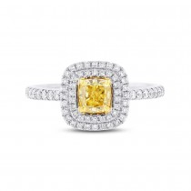 0.72ct Cushion Cut Center and 0.35ct Side 14k Two-tone Gold Natural Yellow Diamond Ring