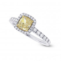 0.95ct Cushion Center and 0.37ct Side 14k Two-tone Gold Natural Yellow Diamond Ring