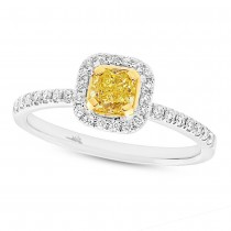 0.58ct Cushion Cut Center and 0.24ct Side 18k Two-tone Gold Natural Yellow Diamond Ring