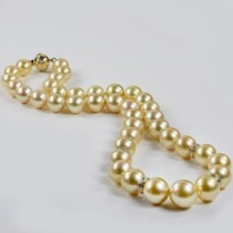 Golden South Sea Pearl Strand Necklace w/ Diamonds 14k Y Gold 10-13mm