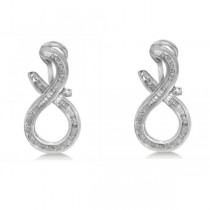 Diamond Accented Twist Earrings in 14k White Gold (0.75ct)