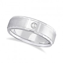 Mens Diamond Solitaire Wedding Ring Band 18k White Gold (0.10ct)