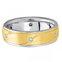 Men's Burnished Diamond Wedding Ring in Two Tone 18k Gold (0.18 ctw)