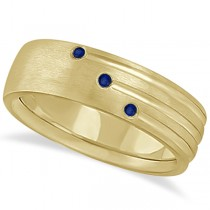 Mens Shooting Star Blue Sapphire Wedding Ring Band 14k Yellow Gold (0.15ct)