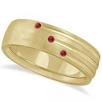 Mens Shooting Star Ruby Wedding Ring Band 14k Yellow Gold (0.15ct)