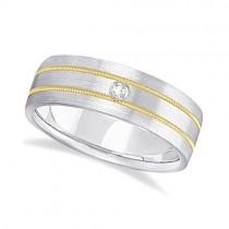 Mens Milgrain Engraved Diamond Wedding Band Ring 14k Two-Tone (0.05ct)