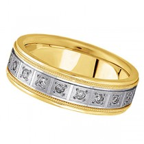 Pave-Set Diamond Wedding Band in 18k Two Tone Gold for Men (0.40 ctw)
