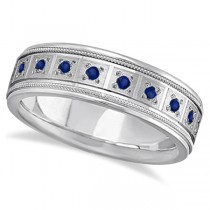 Blue Sapphire Ring for Men Wedding Band Palladium (0.80ctw)