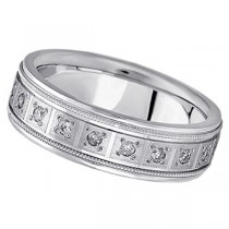 Pave-Set Diamond Wedding Band in Palladium for Men (0.40 ctw)