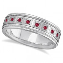 Ruby Ring for Men Wedding Band 18k White Gold (0.80ctw)