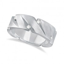 Mens Pointed Groove Diamond Wedding Ring Band 14k White Gold (0.50ct)