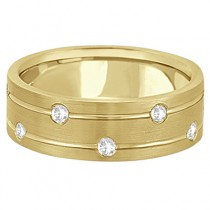 Mens Wide Band Diamond Wedding Ring w/ Grooves 18k Yellow Gold (0.40ct)