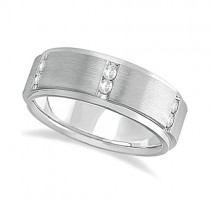 Mens Channel Set Wide Band Diamond Wedding Ring 14k White Gold (0.50ct)
