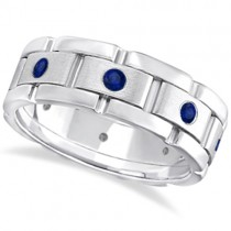 Men's Blue Sapphire Wedding Ring Wide Band 14k White Gold (0.80ct)