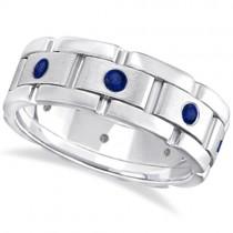 Men's Blue Sapphire Wedding Ring Wide Band Palladium (0.80ct)
