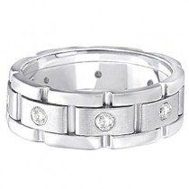 Mens Wide Band Diamond Eternity Wedding Ring 14kt White Gold (0.40ct)