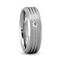 Burnished Diamond Mens Wedding Band Ring 14K White Gold (0.08 ct)