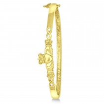 Claddagh Hinged Stackable Bangle Bracelet 14k Yellow Gold