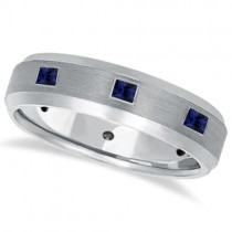 Princess-Cut Sapphire Ring for Men Wedding Band 14k White Gold (0.80ct)