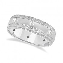 Mens Engraved Diamond Wedding Ring Wide Band 18k White Gold (0.35ct)