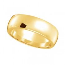 Dome Comfort Fit Wedding Ring Band 14k Yellow Gold (6mm)