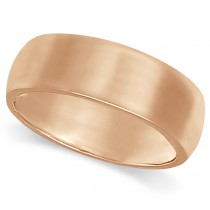 Dome Comfort Fit Wedding Ring Band 18k Rose Gold (7mm)