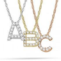 Petite Pave Diamond Initial Pendant Necklace 14k Rose Gold