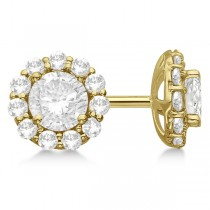 Round Diamond Stud Earrings Halo Setting In 14K Yellow Gold
