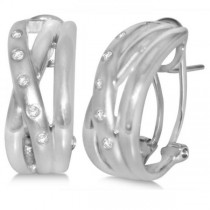 Diamond Accented Huggie Earrings in 14k White Gold (0.09ct)
