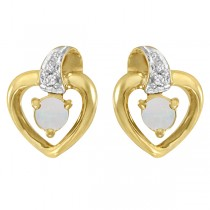 Round Opal and Diamond Heart Earrings 14 Yellow Gold (0.14ct)