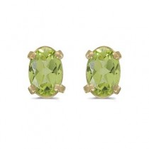 Oval Peridot Studs August Birthstone Earrings 14k Yellow Gold (1.10ct)