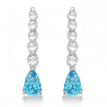 Pear Blue Topaz & Diamond Graduated Drop Earrings 14k White Gold (0.80ctw)
