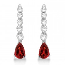 Pear Garnet & Diamond Graduated Drop Earrings 14k White Gold (0.80ctw)