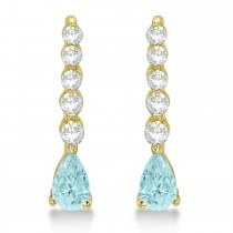 Pear Aquamarine & Diamond Graduated Drop Earrings 14k Yellow Gold (0.80ctw)