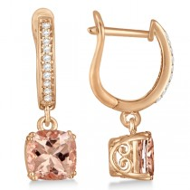 Morganite & Diamond Earrings Sterling & 14k Rose Gold Plating 2.63ct