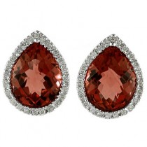 Pear Shaped Garnet and Diamond Earrings in 14k White Gold