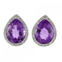 Pear Shaped Amethyst and Diamond Earrings in 14k White Gold