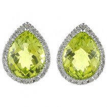Pear Shaped Peridot and Diamond Earrings in 14k White Gold