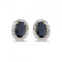 Diamond and Blue Sapphire Earrings 14k Yellow Gold (1.20ct)