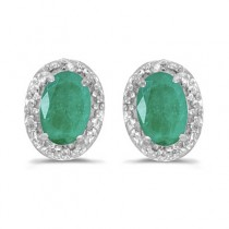 Diamond and Emerald Earrings in 14k White Gold (0.90ct)