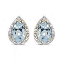 Pear Aquamarine and Diamond Stud Earrings 14k Yellow Gold (1.20ct)