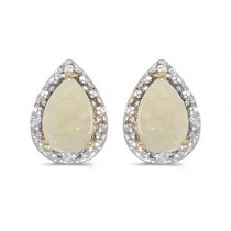 Pear Opal and Diamond Stud Earrings 14k Yellow Gold (1.70ct)